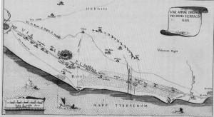 Cartina del 1745 raffigurante il tratto della via Appia tra Roma e Terracina