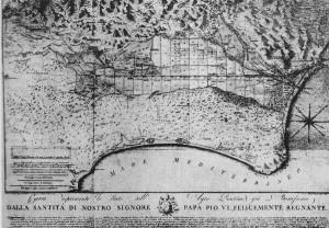 Cartografia delle paludi pontine dopo i lavori di bonifica compiuti da Pio VI
