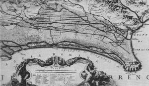 Cartografia delle paludi pontine del 1693 ad opera di Giacomo Filippo Ameti