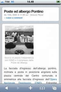 Screenshot di una pagina della versione mobile di pontiniaweb